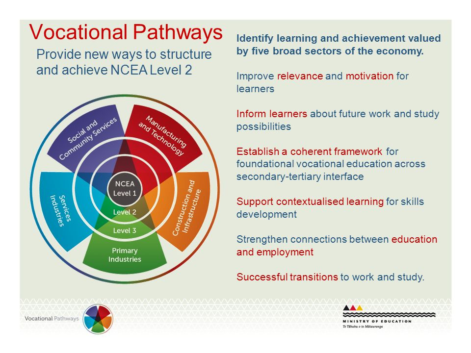 Vocational Pathways Identify learning and achievement valued by five broad sectors of the economy. Improve relevance and motivation for learners Infor