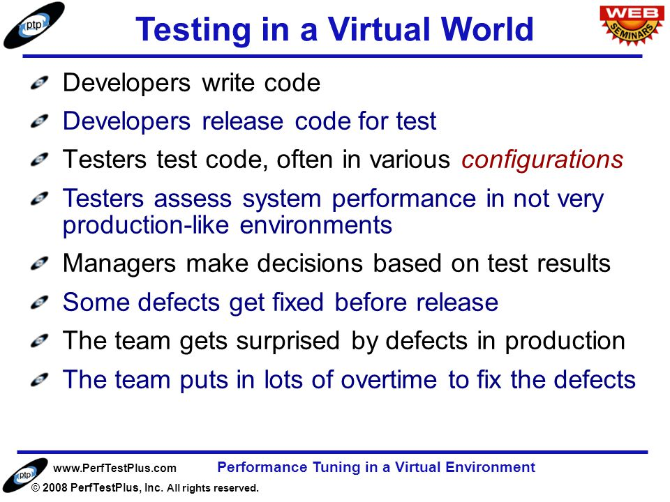 www.PerfTestPlus.com © 2008 PerfTestPlus, Inc. All rights reserved. Performance Tuning in a Virtual Environment Page 6 Developers write code Developer