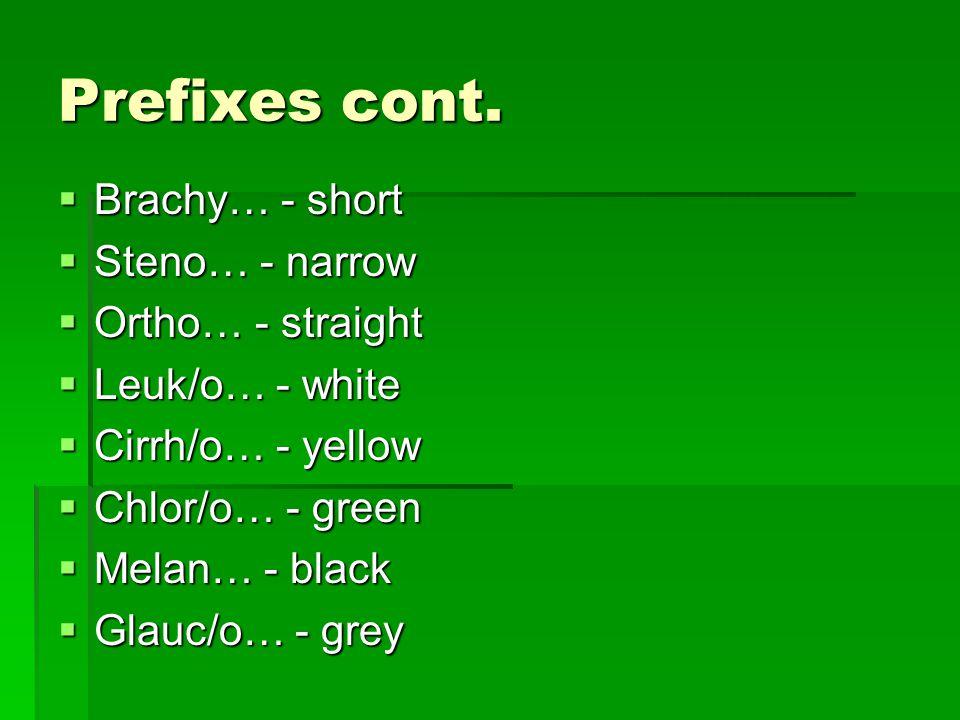 Prefixes cont.
