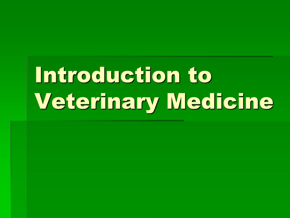Introduction to Veterinary Medicine