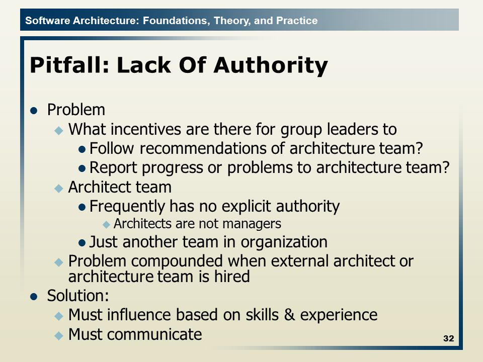 Software Architecture: Foundations, Theory, and Practice Pitfall: Lack Of Authority Problem u What incentives are there for group leaders to Follow re