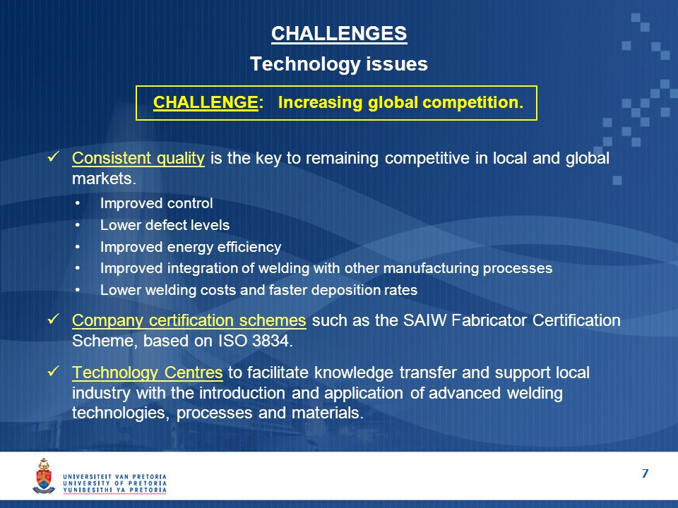 CHALLENGES Technology issues CHALLENGE: Increasing global competition.