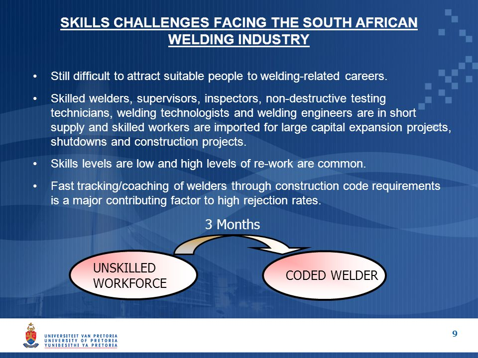 SKILLS CHALLENGES FACING THE SOUTH AFRICAN WELDING INDUSTRY Still difficult to attract suitable people to welding-related careers.