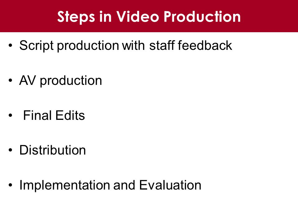 Steps in Video Production Script production with staff feedback AV production Final Edits Distribution Implementation and Evaluation