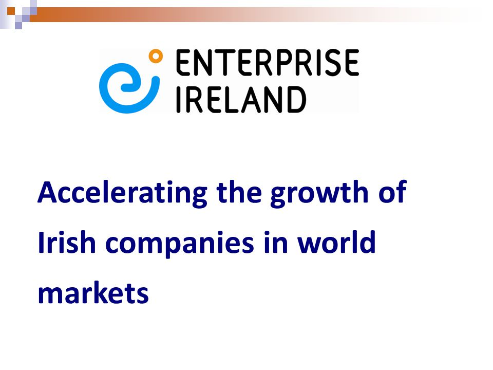 Accelerating the growth of Irish companies in world markets