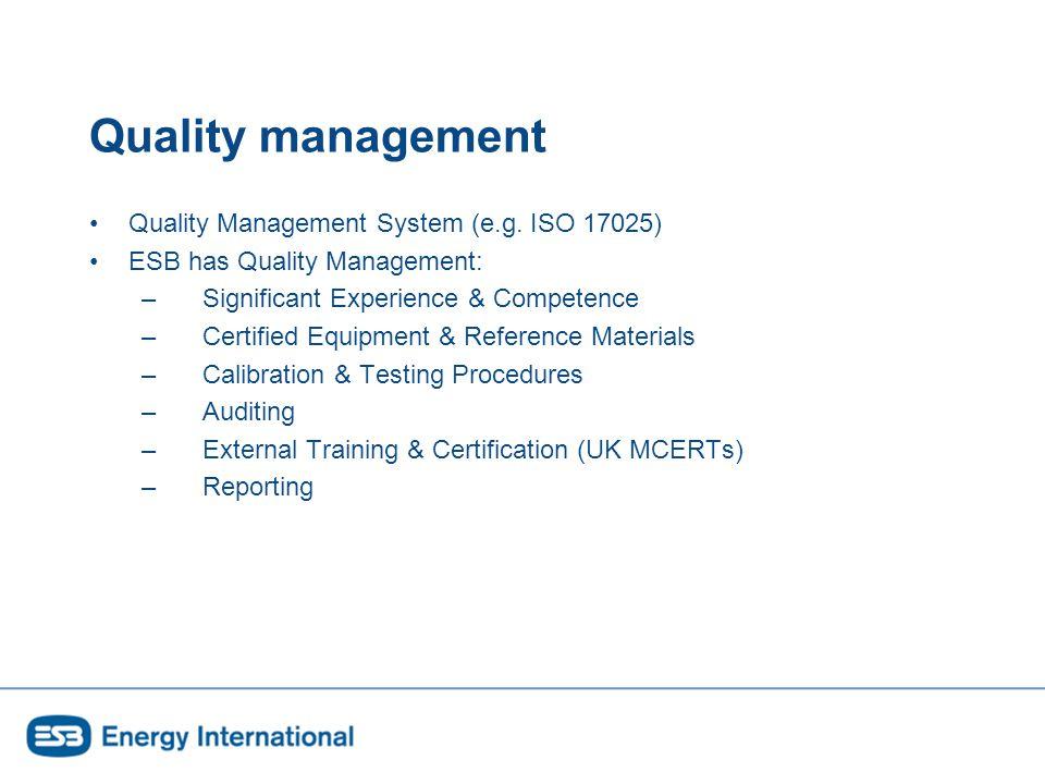 Quality management Quality Management System (e.g.
