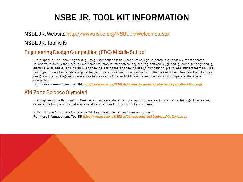 NSBE JR. TOOL KIT INFORMATION NSBE JR. Website http://www.nsbe.org/NSBE-Jr/Welcome.aspxhttp://www.nsbe.org/NSBE-Jr/Welcome.aspx NSBE JR. Tool Kits Eng