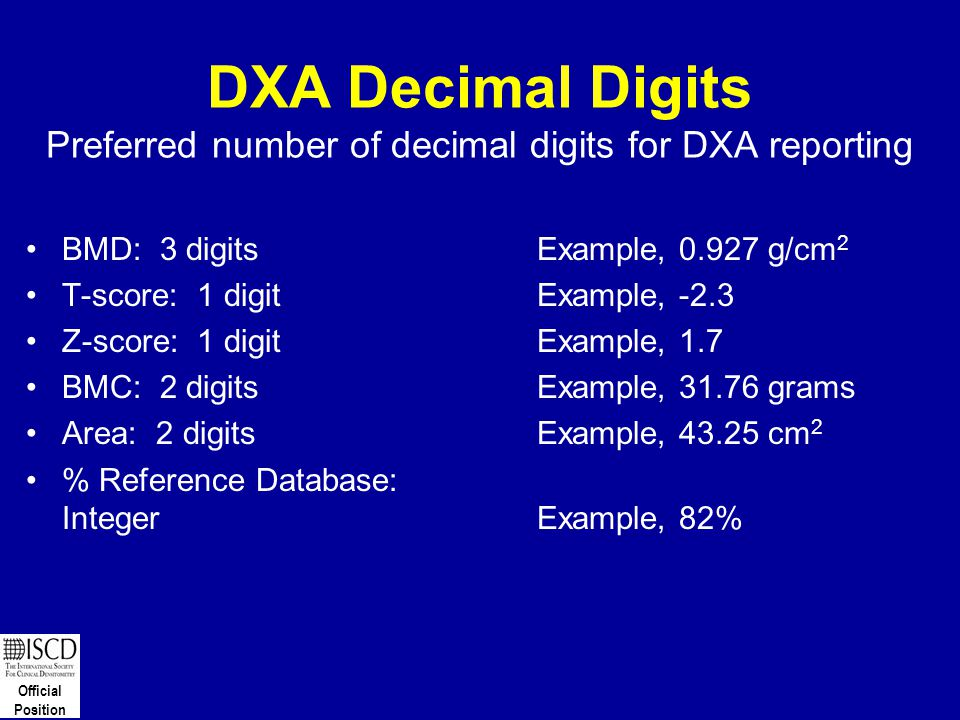 Official Position DXA Decimal Digits Preferred number of decimal digits for DXA reporting BMD: 3 digitsExample, 0.927 g/cm 2 T-score: 1 digitExample,