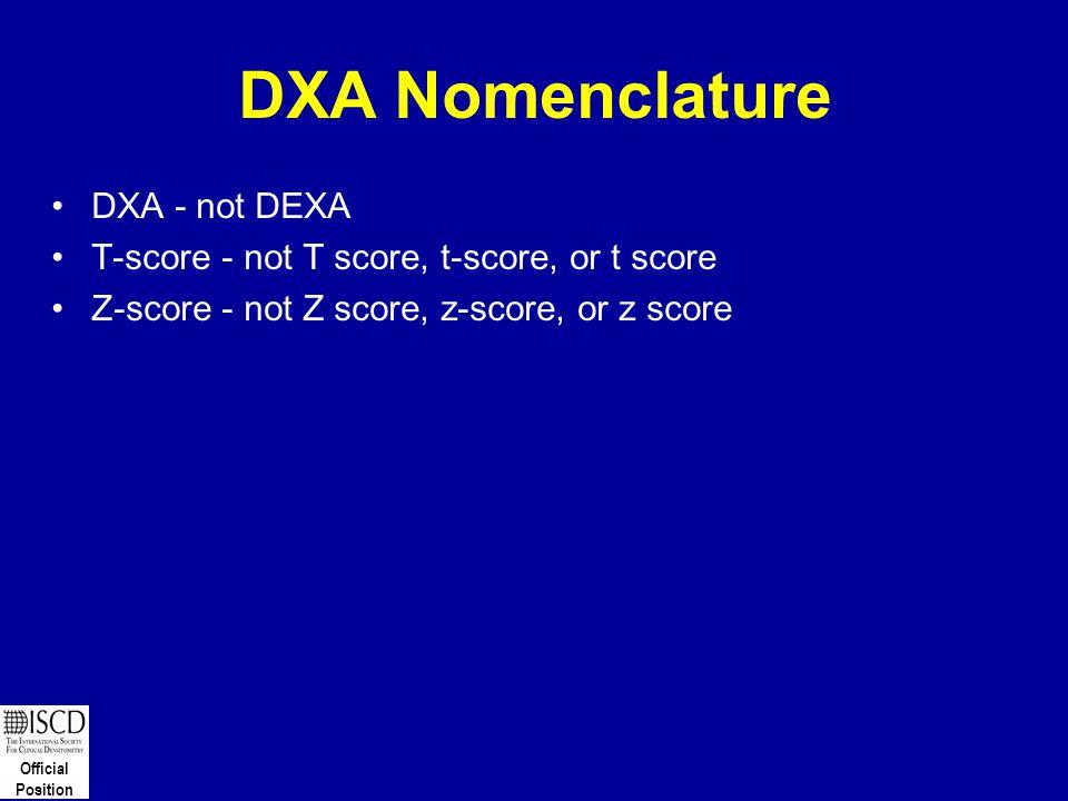 Official Position DXA Nomenclature DXA - not DEXA T-score - not T score, t-score, or t score Z-score - not Z score, z-score, or z score