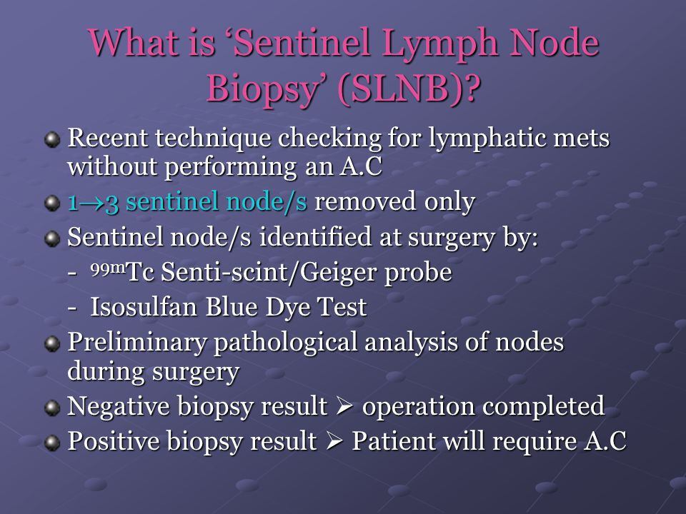 What is 'Sentinel Lymph Node Biopsy' (SLNB)? Recent technique checking for lymphatic mets without performing an A.C 1  3 sentinel node/s removed only