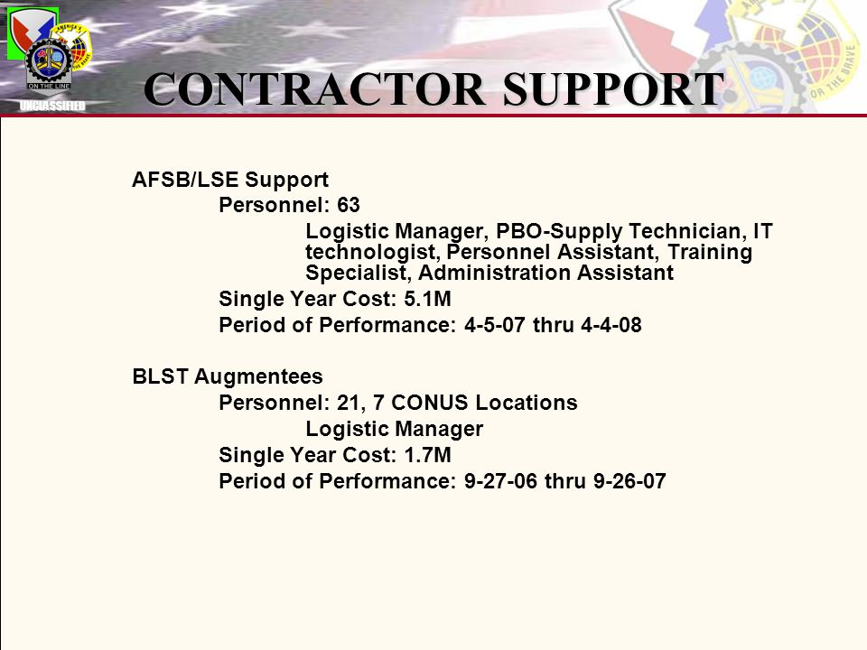 UNCLASSIFIED CONTRACTOR SUPPORT AFSB/LSE Support Personnel: 63 Logistic Manager, PBO-Supply Technician, IT technologist, Personnel Assistant, Training