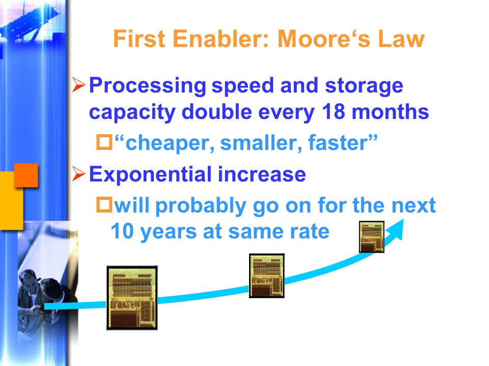 First Enabler: Moore's Law  Processing speed and storage capacity double every 18 months  cheaper, smaller, faster  Exponential increase  will probably go on for the next 10 years at same rate