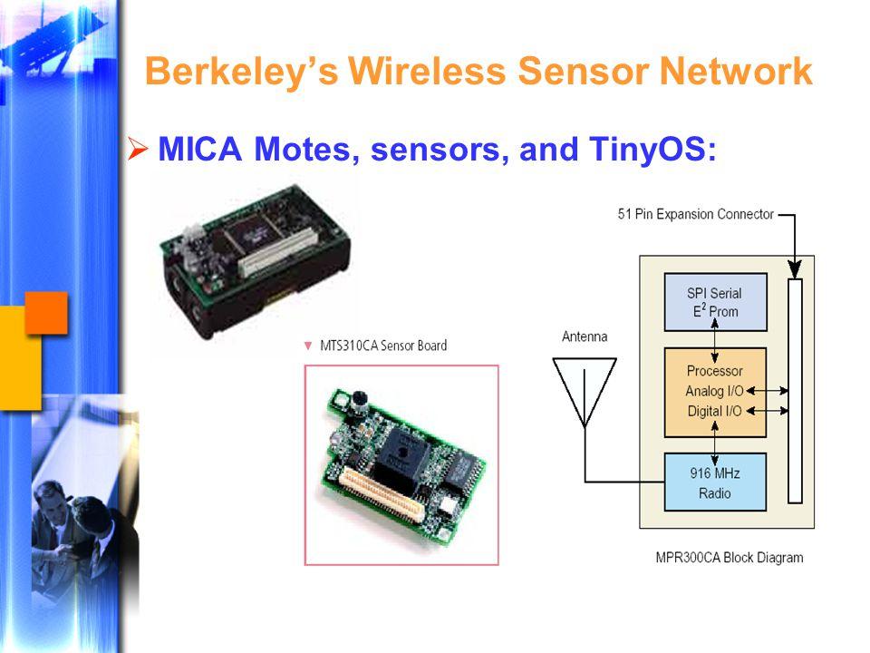 Berkeley's Wireless Sensor Network  MICA Motes, sensors, and TinyOS: