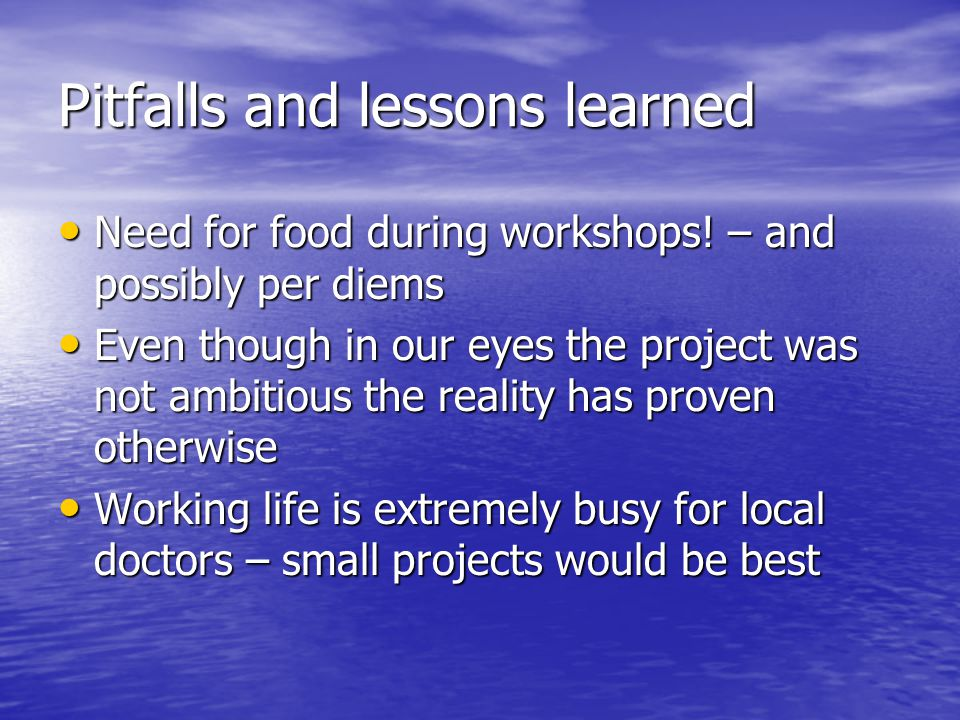 Pitfalls and lessons learned Need for food during workshops! – and possibly per diems Even though in our eyes the project was not ambitious the realit