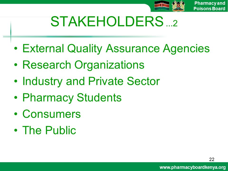 www.pharmacyboardkenya.org Pharmacy and Poisons Board STAKEHOLDERS...2 External Quality Assurance Agencies Research Organizations Industry and Private