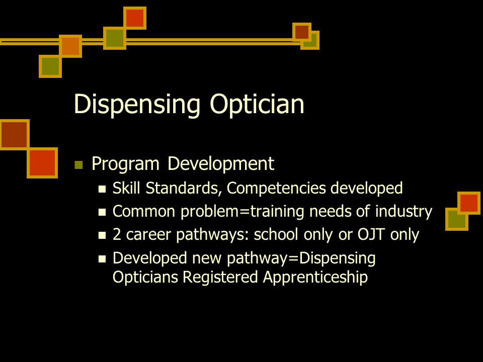 Dispensing Optician Program Development Skill Standards, Competencies developed Common problem=training needs of industry 2 career pathways: school on