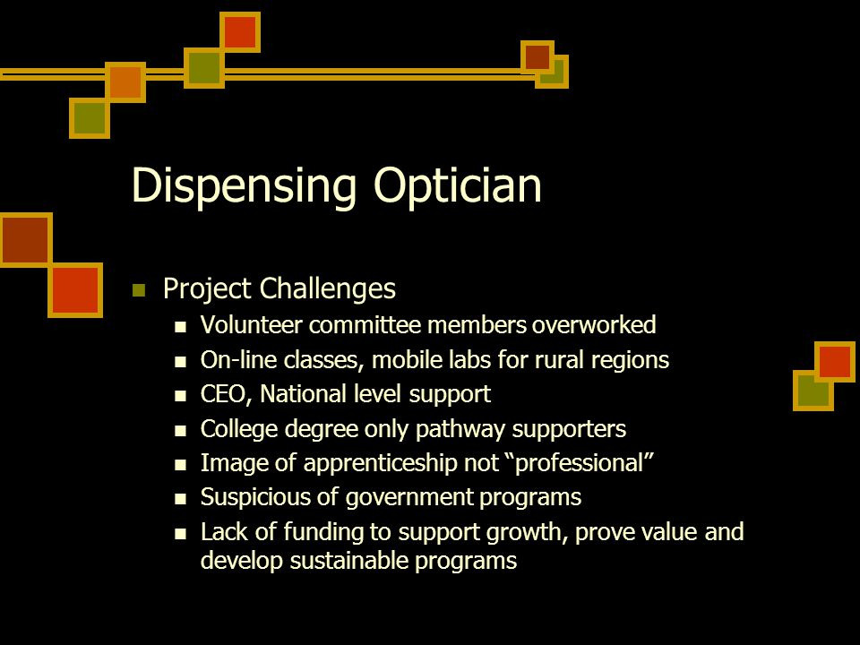 Dispensing Optician Project Challenges Volunteer committee members overworked On-line classes, mobile labs for rural regions CEO, National level support College degree only pathway supporters Image of apprenticeship not professional Suspicious of government programs Lack of funding to support growth, prove value and develop sustainable programs
