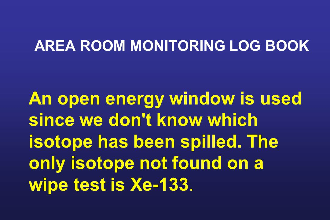 AREA ROOM MONITORING LOG BOOK An open energy window is used since we don t know which isotope has been spilled.