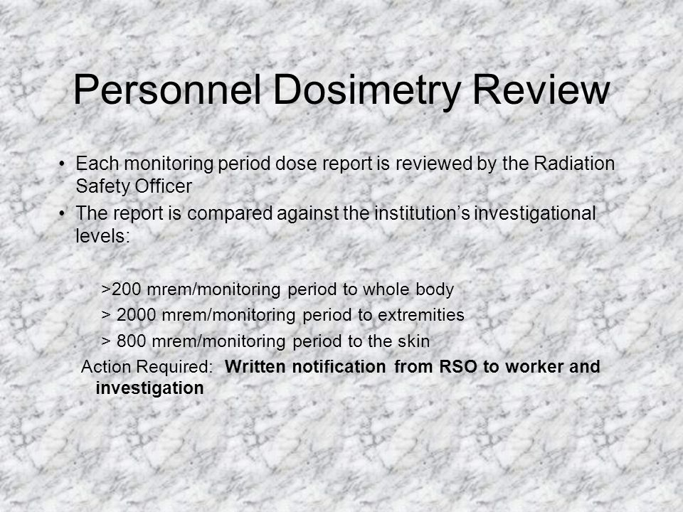 Personnel Dosimetry - FYI Dosimetry does not protect you from radiation. Dosimetry is not a warning device (i.e. it will not alarm, beep or change col