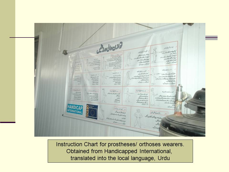 Instruction Chart for prostheses/ orthoses wearers. Obtained from Handicapped International, translated into the local language, Urdu