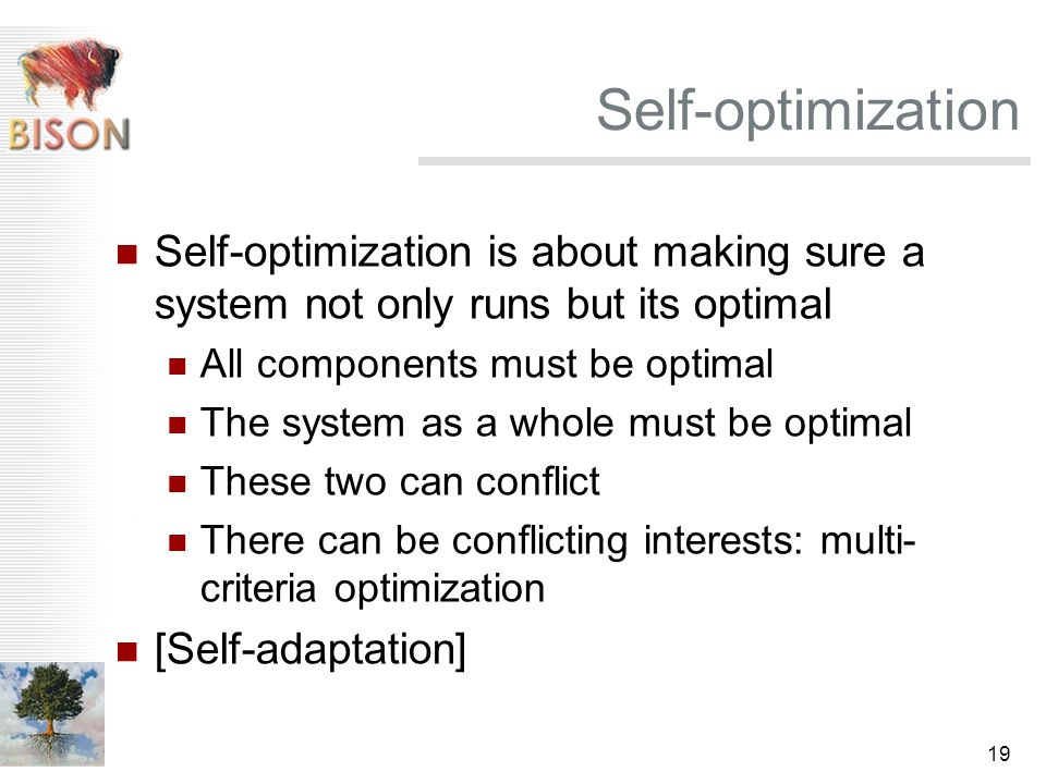 19 Self-optimization Self-optimization is about making sure a system not only runs but its optimal All components must be optimal The system as a whole must be optimal These two can conflict There can be conflicting interests: multi- criteria optimization [Self-adaptation]