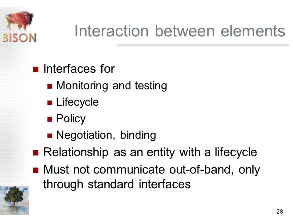 28 Interaction between elements Interfaces for Monitoring and testing Lifecycle Policy Negotiation, binding Relationship as an entity with a lifecycle Must not communicate out-of-band, only through standard interfaces