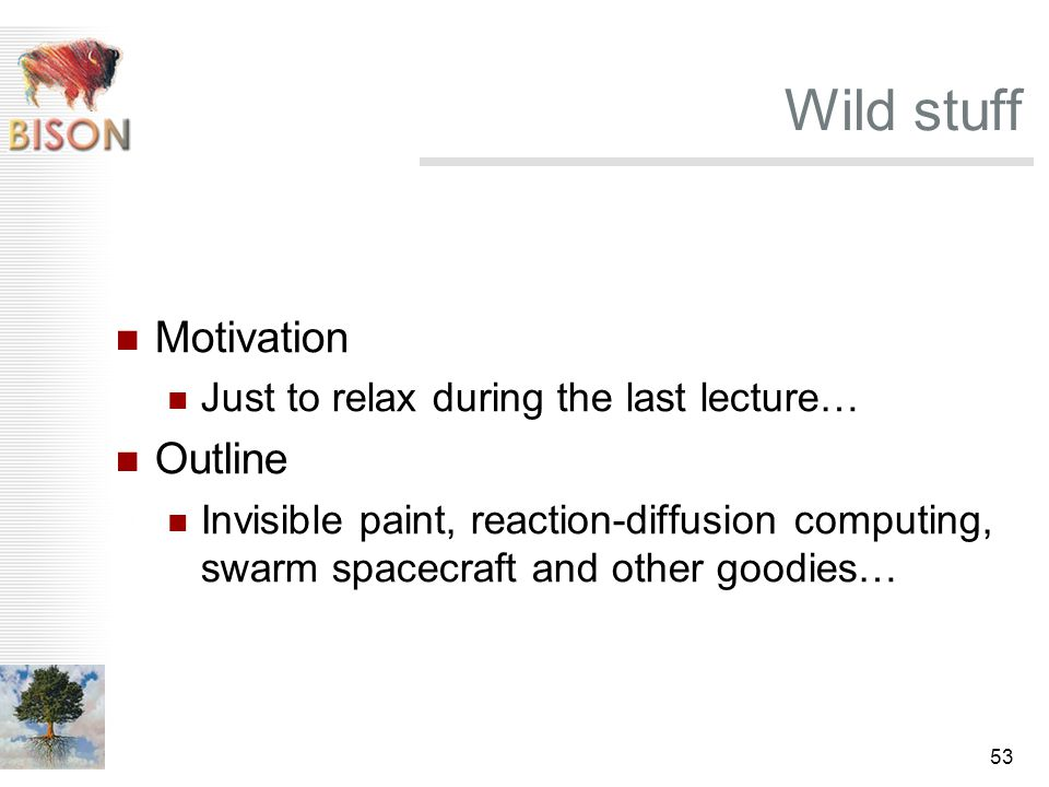53 Wild stuff Motivation Just to relax during the last lecture… Outline Invisible paint, reaction-diffusion computing, swarm spacecraft and other good