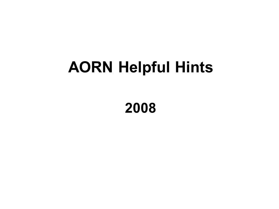 AORN Helpful Hints 2008