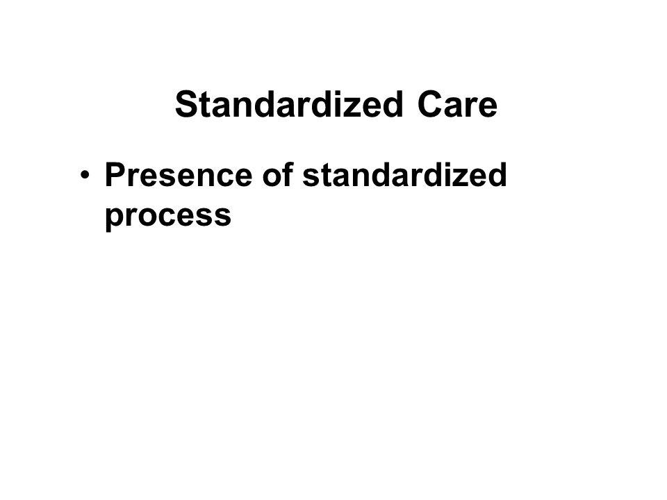 Standardized Care Presence of standardized process