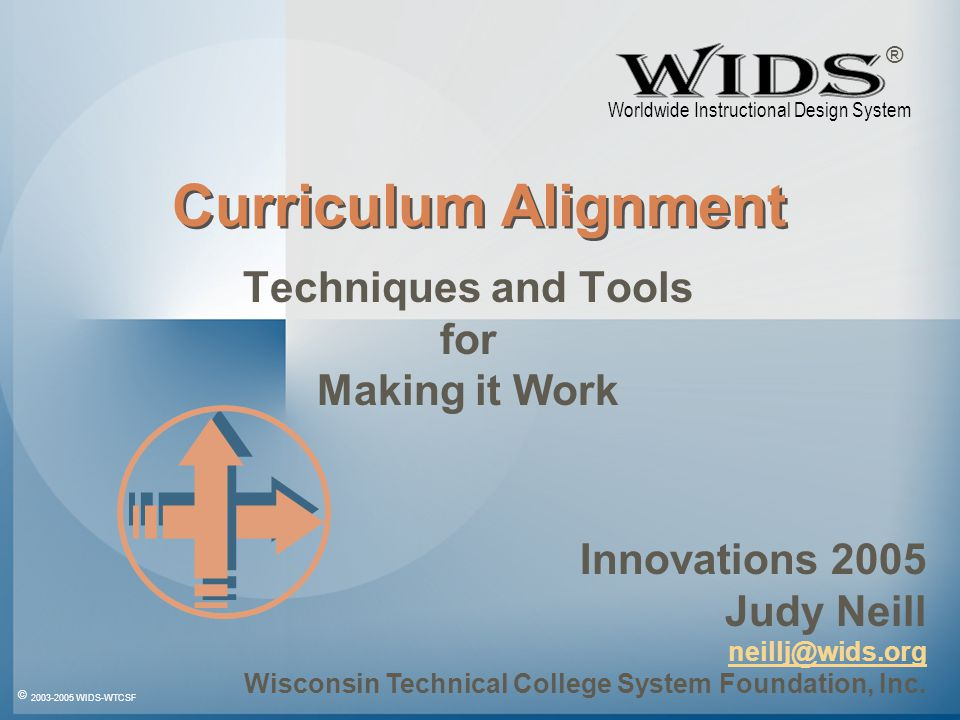 © 2003-2005 WIDS-WTCSF WIDS 05 Aligned Title Performance Standards Exit Learning Outcomes Linked External Standards Within a College Within a Program Across a Department Across a System Aligned Course – Multiple Iterations Competencies Description Credit Configuration Course Number Grading Rationale