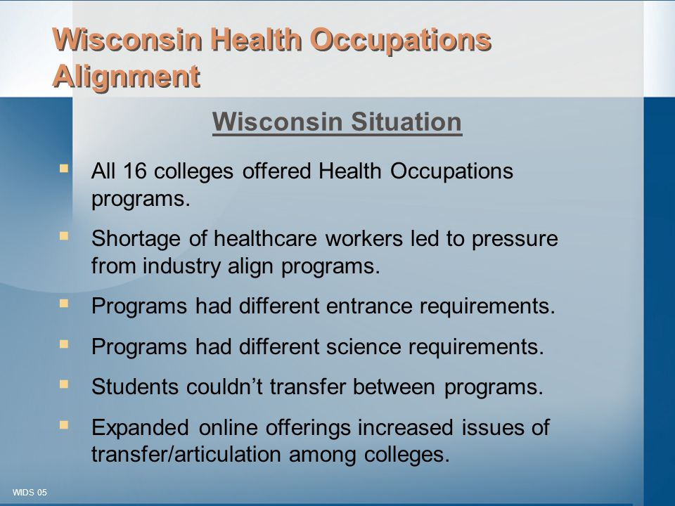 © 2003-2005 WIDS-WTCSF WIDS 05  All 16 colleges offered Health Occupations programs.