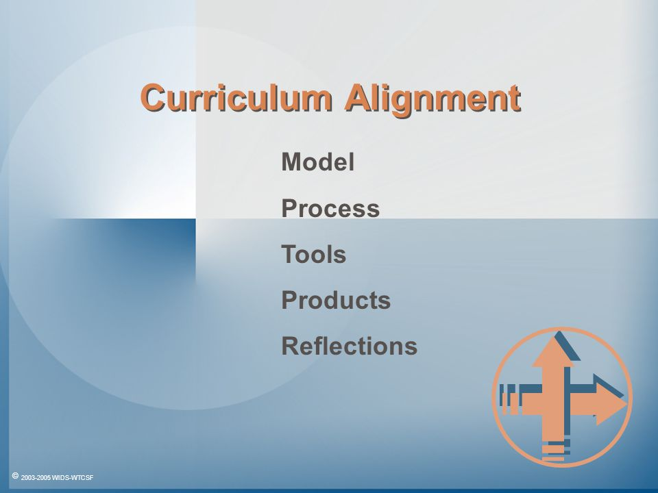 © 2003-2005 WIDS-WTCSF Curriculum Alignment Model Process Tools Products Reflections