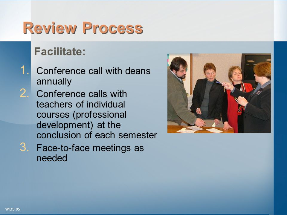 © 2003-2005 WIDS-WTCSF WIDS 05 Review Process 1. Conference call with deans annually 2.