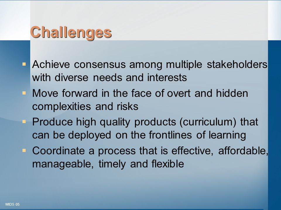 © 2003-2005 WIDS-WTCSF WIDS 05 Challenges  Achieve consensus among multiple stakeholders with diverse needs and interests  Move forward in the face of overt and hidden complexities and risks  Produce high quality products (curriculum) that can be deployed on the frontlines of learning  Coordinate a process that is effective, affordable, manageable, timely and flexible