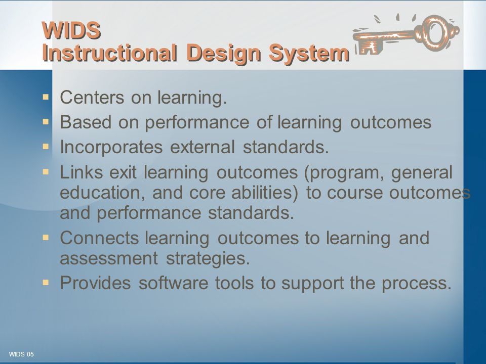 © 2003-2005 WIDS-WTCSF WIDS 05 WIDS Instructional Design System  Centers on learning.