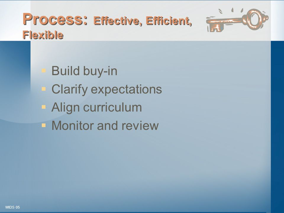 © 2003-2005 WIDS-WTCSF WIDS 05 Process: Effective, Efficient, Flexible  Build buy-in  Clarify expectations  Align curriculum  Monitor and review