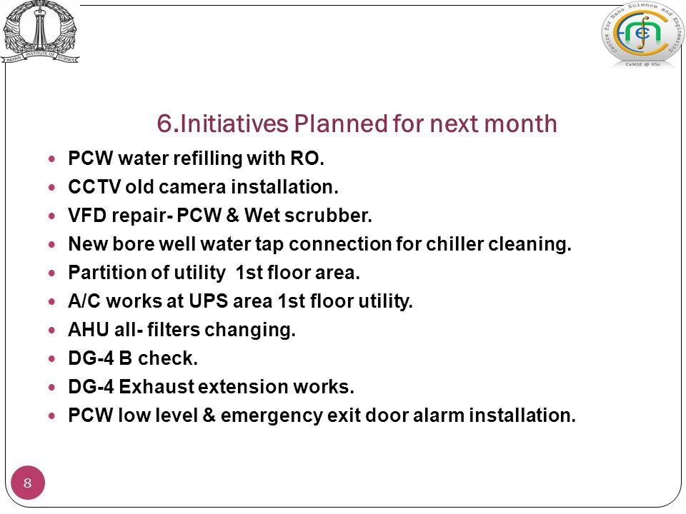 6.Initiatives Planned for next month 8 PCW water refilling with RO.