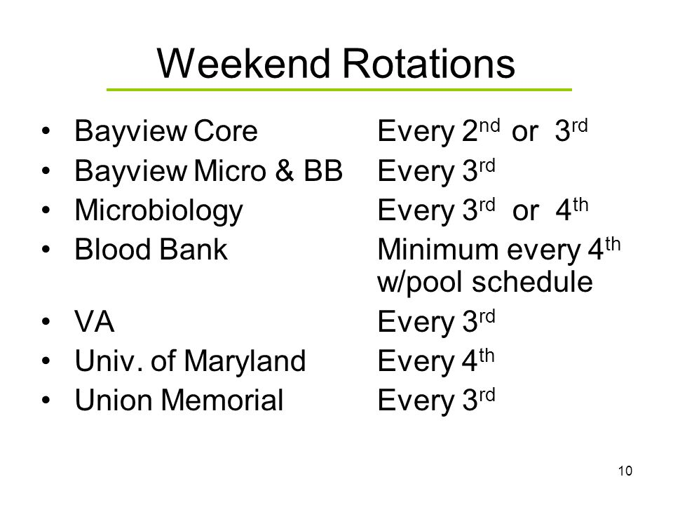 10 Weekend Rotations Bayview CoreEvery 2 nd or 3 rd Bayview Micro & BBEvery 3 rd MicrobiologyEvery 3 rd or 4 th Blood BankMinimum every 4 th w/pool sc