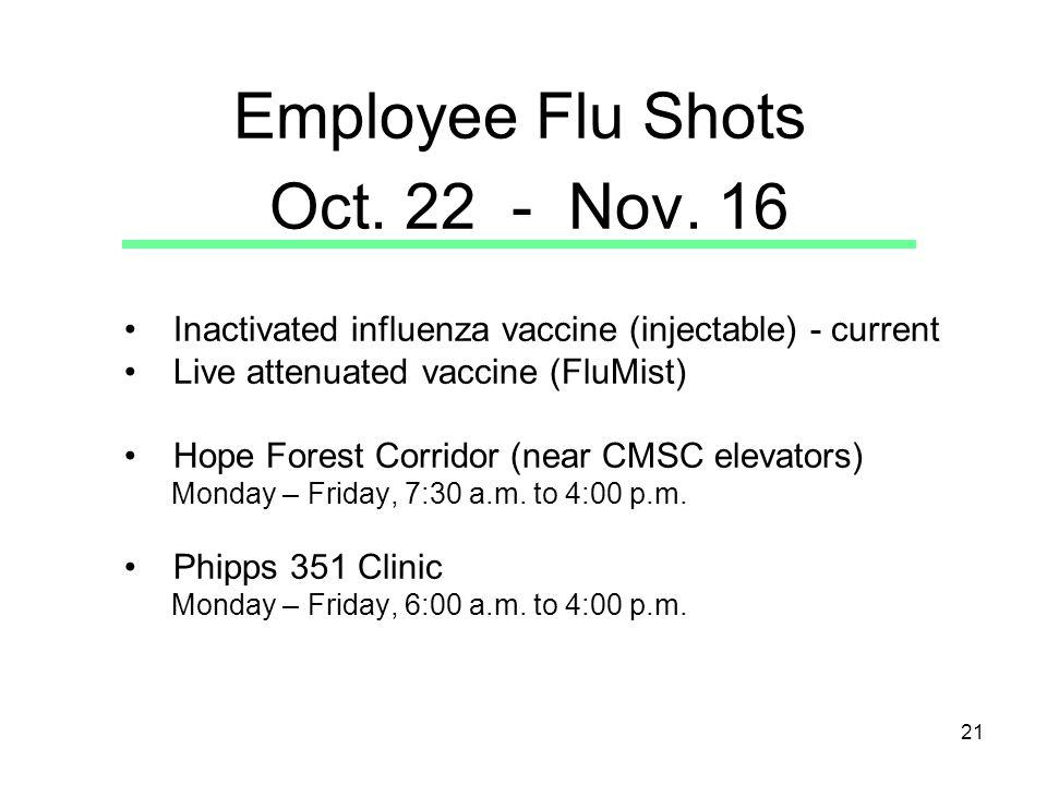 21 Employee Flu Shots Oct. 22 - Nov.