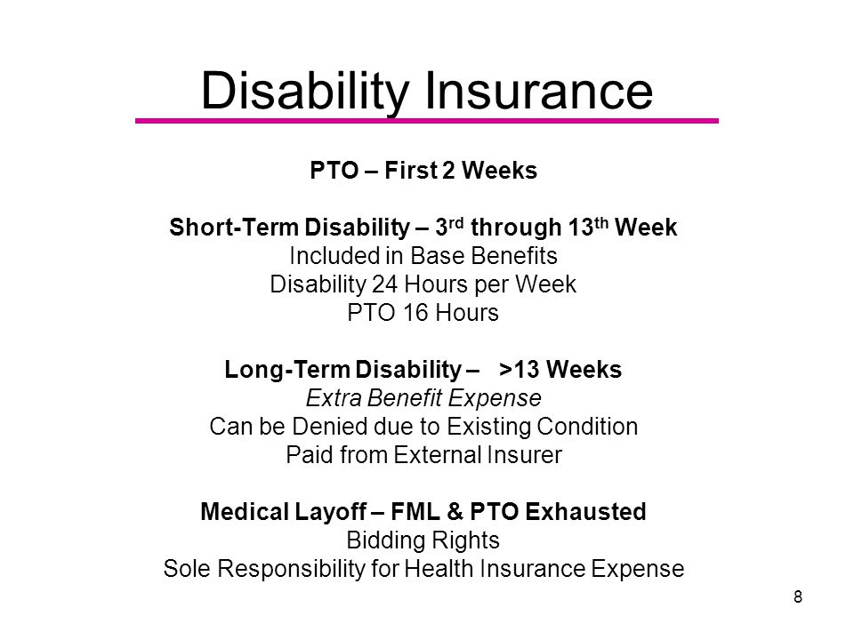 8 Disability Insurance PTO – First 2 Weeks Short-Term Disability – 3 rd through 13 th Week Included in Base Benefits Disability 24 Hours per Week PTO 16 Hours Long-Term Disability – >13 Weeks Extra Benefit Expense Can be Denied due to Existing Condition Paid from External Insurer Medical Layoff – FML & PTO Exhausted Bidding Rights Sole Responsibility for Health Insurance Expense
