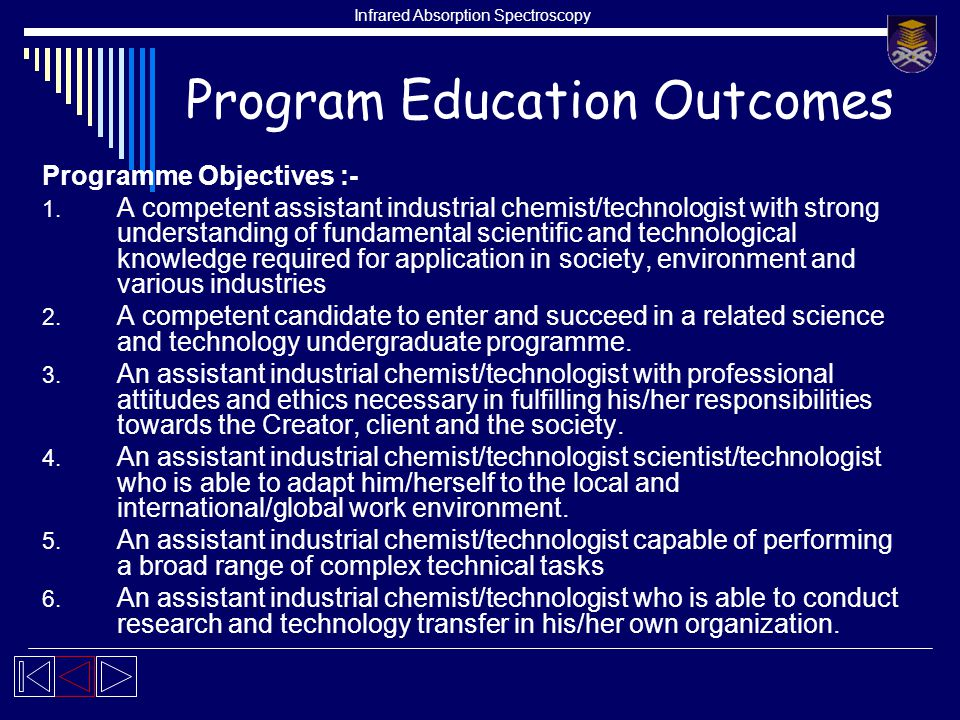 Infrared Absorption Spectroscopy Program Education Outcomes Programme Objectives :- 1.