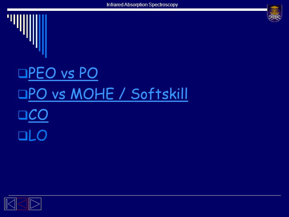 Infrared Absorption Spectroscopy  PEO vs PO PEO vs PO  PO vs MOHE / Softskill PO vs MOHE / Softskill  CO CO  LO