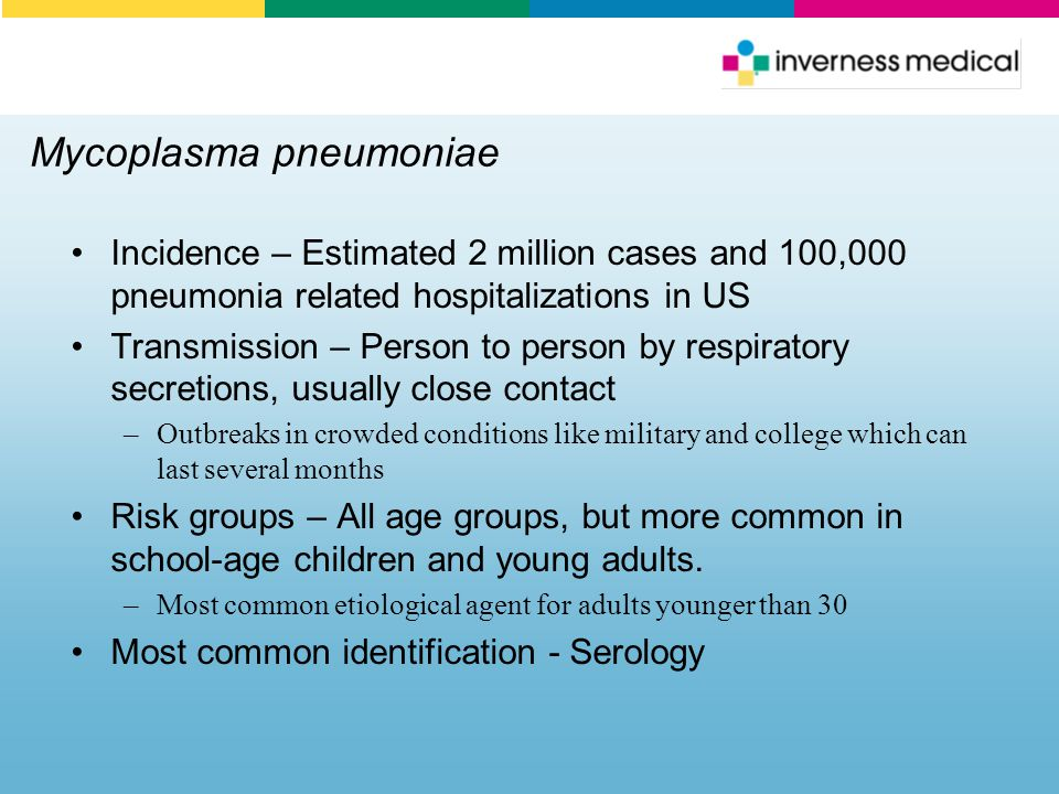 Mycoplasma pneumoniae Incidence – Estimated 2 million cases and 100,000 pneumonia related hospitalizations in US Transmission – Person to person by re