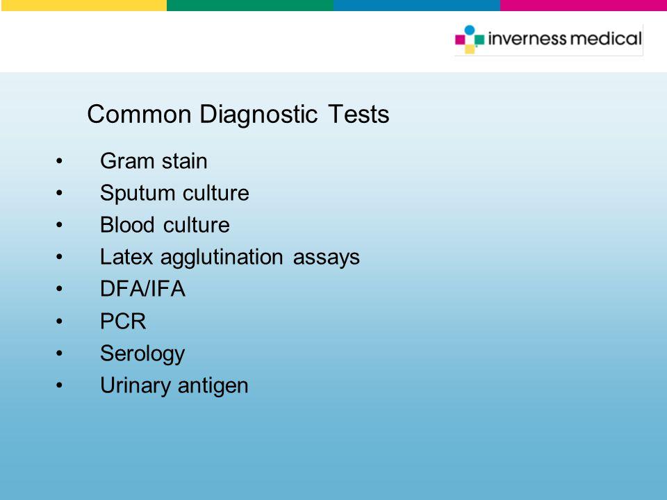 Common Diagnostic Tests Gram stain Sputum culture Blood culture Latex agglutination assays DFA/IFA PCR Serology Urinary antigen