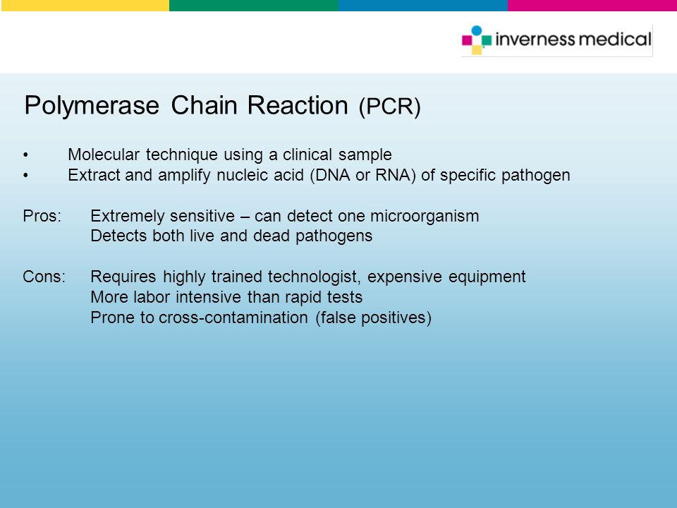 Polymerase Chain Reaction (PCR) Molecular technique using a clinical sample Extract and amplify nucleic acid (DNA or RNA) of specific pathogen Pros:Ex