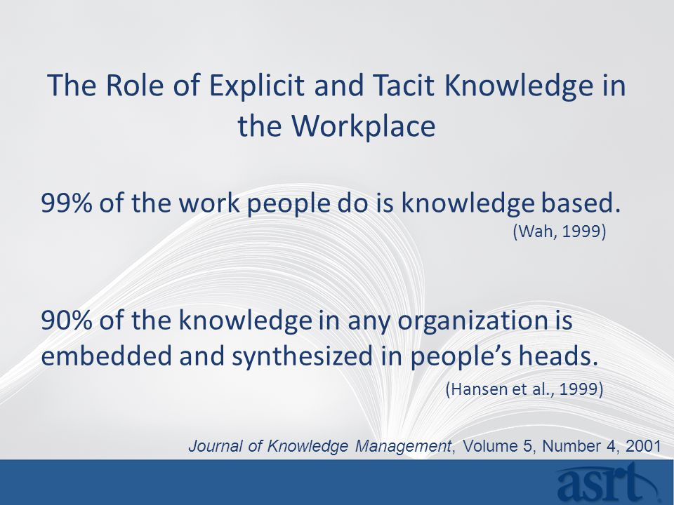 The Role of Explicit and Tacit Knowledge in the Workplace 90% of the knowledge in any organization is embedded and synthesized in people's heads.