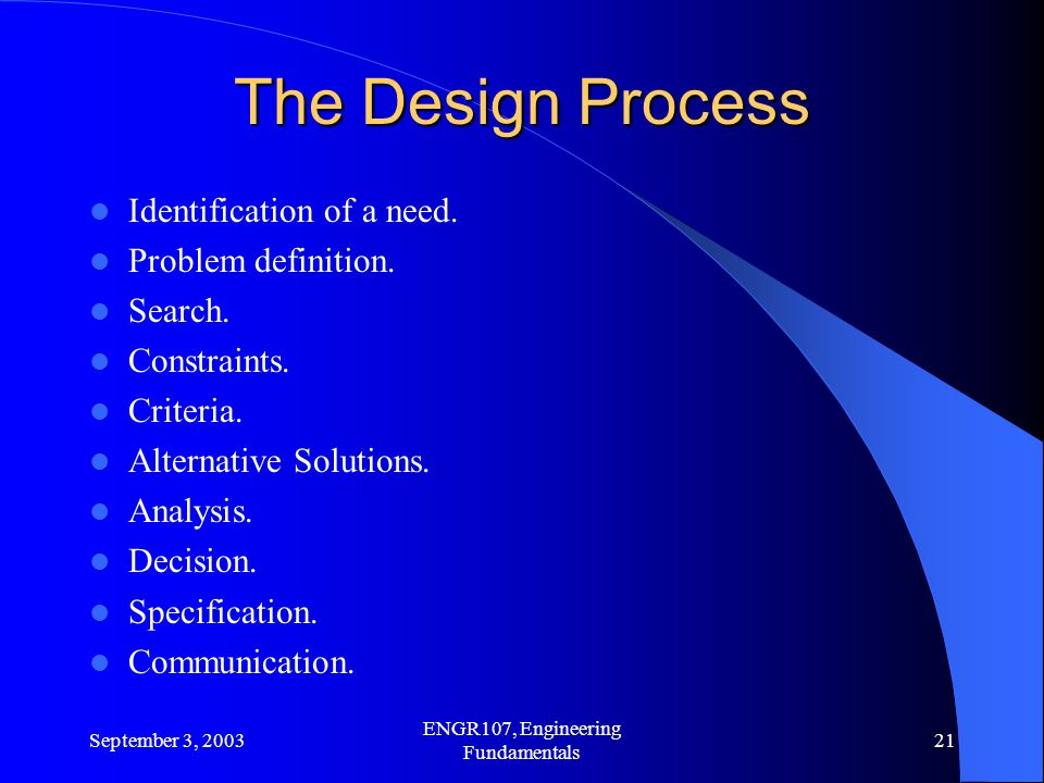 September 3, 2003 ENGR107, Engineering Fundamentals 21 The Design Process Identification of a need.