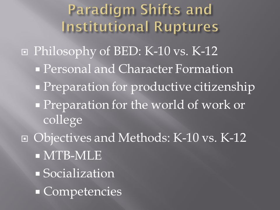  Option A is for USC to simply adopt K12 at BED.What program segments should it develop.