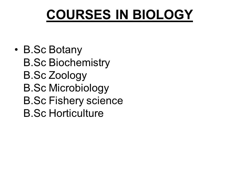 COURSES IN BIOLOGY B.Sc Botany B.Sc Biochemistry B.Sc Zoology B.Sc Microbiology B.Sc Fishery science B.Sc Horticulture