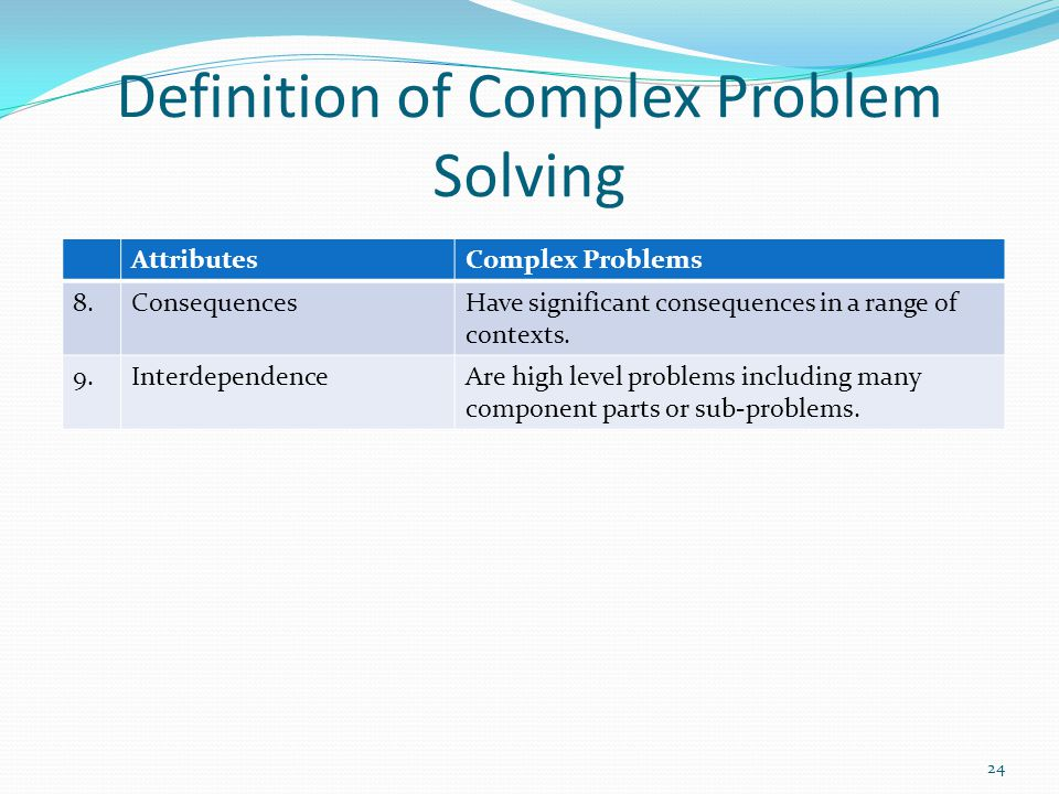 Definition of Complex Problem Solving AttributesComplex Problems 8.ConsequencesHave significant consequences in a range of contexts. 9.Interdependence